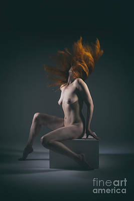 Photograph - Studio Nude Red Hair Flick by Clayton Bastiani