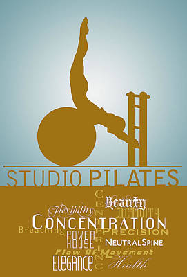 Digital Art - Studio Pilates Blue Gold by ReadyForYoga Online-Shop
