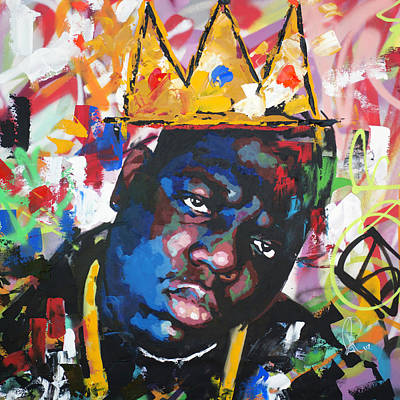 Abstract Portrait Painting - Biggie Smalls by Richard Day