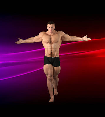 Digital Art - Studio Strong Man Render 32 by Carlos Diaz