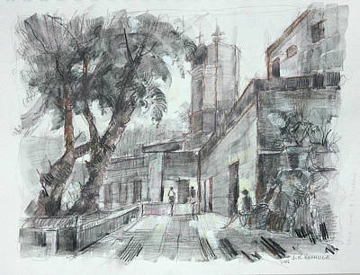 Study #1 Of El Barrio Del Chorro, San Miguel Art Print by Jack Hannula