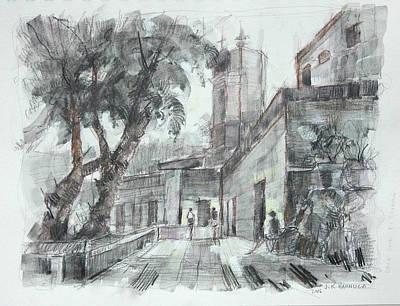 Miguel Drawings Drawing - Study #1 Of El Barrio Del Chorro, San Miguel by Jack Hannula