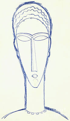 Drawing - Study For A Head For A Sculpture by Amedeo Modigliani