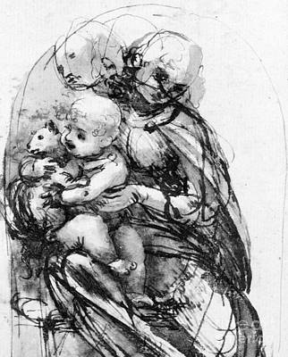 Religion Drawings Drawing - Study For A Madonna With A Cat by Leonardo da Vinci