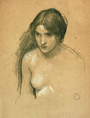 Waterhouse Drawing - Study For A Nymph In Hylas And The Nymphs by John William Waterhouse