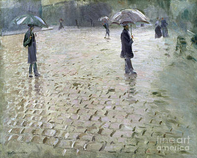 Commuters Painting - Study For A Paris Street Rainy Day by Gustave Caillebotte