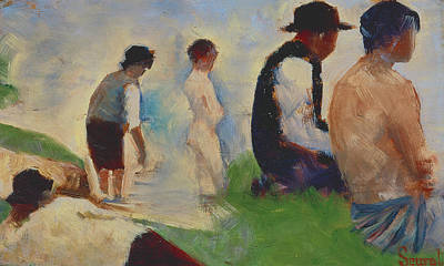 Wading River Painting - Study For Bathers At Asnieres by Georges Pierre Seurat