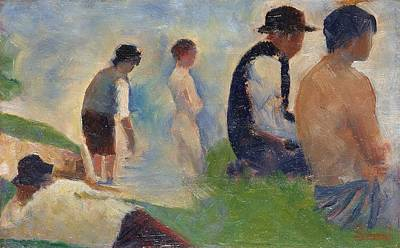 Pointilist Painting - Study For 'bathers At Asnieres' by Georges Seurat