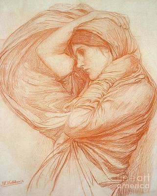 Waterhouse Drawing - Study For Boreas by John William Waterhouse