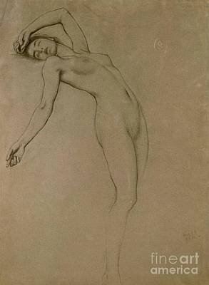 Female Form Drawing - Study For Clyties Of The Mist by Herbert James Draper
