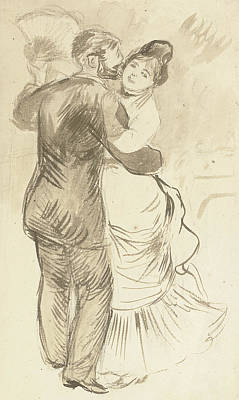 Boy And Girl Drawing - Study For Countryside Dance by Pierre Auguste Renoir