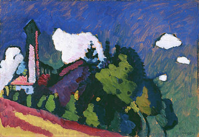 Expressionist Painting - Study For Landscape With Tower by Wassily Kandinsky