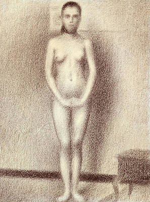 Life Drawing Drawing - Study For Les Poseuses by Georges Pierre Seurat
