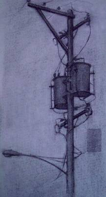 Telephone Poles Drawing - Study For Philadelphia Cityscape by Michael Lane