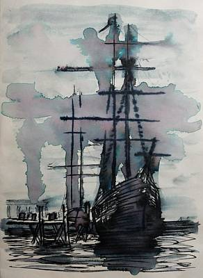 Drawing - Study For Sailing Vessel Pandora by Vic Delnore