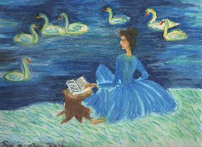 Study For Swan Lake Reader Art Print by Sushila Burgess