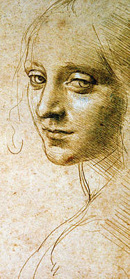 Girl Face Drawing - Study For The Angel Of The Virgin Of The Rocks by Leonardo da Vinci