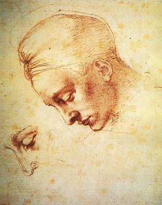 Painting - Study For The Head Of Leda by Michelangelo