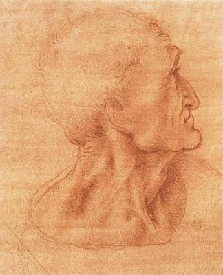 Closeup Drawing - Study For The Last Supper, Judas by Leonardo da Vinci