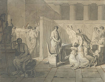 David Drawing - Study For The Lictors Bringing Brutus The Bodies Of His Sons by Jacques-Louis David