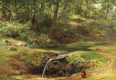 1854 Painting - Study For The Sylvan Spring, 1854 by Richard Redgrave