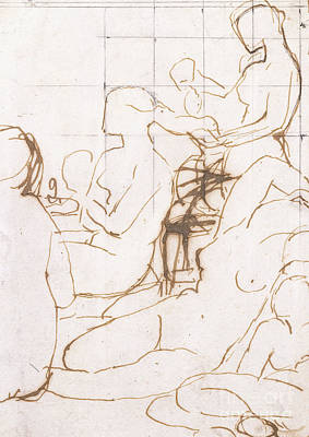 Pen Drawing - Study For The Turkish Bath by Jean Auguste Dominique Ingres