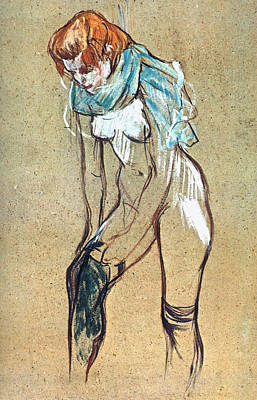 Dressing Painting - Study For Woman Putting On Her Stocking by Henri de Toulouse-Lautrec