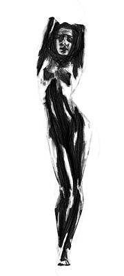 Model Drawing - Study In Black by Steve K