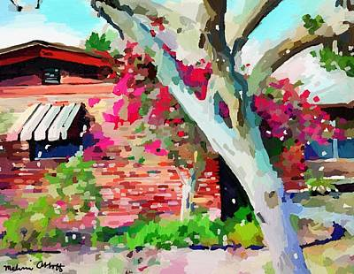 Painting - Study In Color Light And Texture, Brick House On Sunrise With Bouganvilla by Melissa Abbott