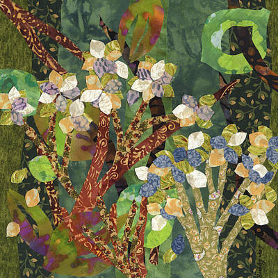 Fabric Collage Mixed Media - Study In Hydrangeas by Julia Berkley