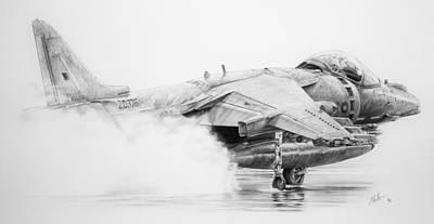 Study In Water... Harrier Gr-9 Original by James Baldwin Aviation Art