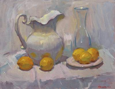 Pitcher Painting - Study In White With Lemons by David Tanner