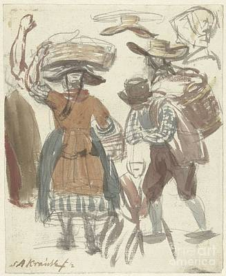 Basket Head Painting - Study Journal Of Fishing Couple With Baskets On The Head And On The Back by Celestial Images