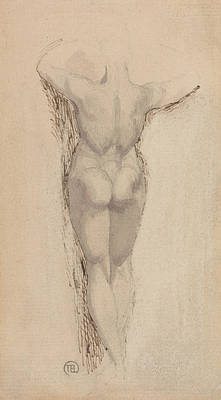 Swiss Drawing - Study Of A Back Of A Female Nude Standing by Henry Fuseli