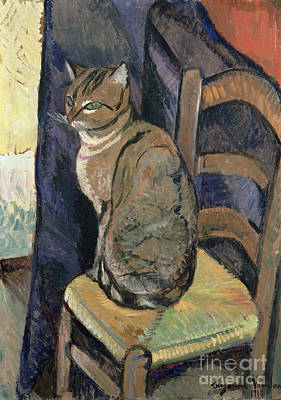 Cats And Dogs Painting - Study Of A Cat by Suzanne Valadon