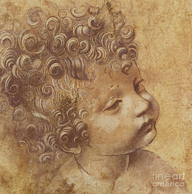 Study Drawing - Study Of A Child's Head by Leonardo Da Vinci