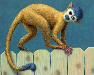 Painting - Study Of A Cute Monkey by James W Johnson