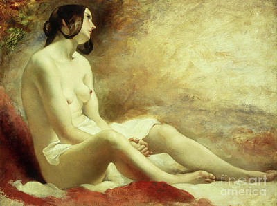 Deep In Thought Painting - Study Of A Draped Nude by William Etty