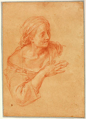 Drawing - Study Of A Female Figure by Pompeo Batoni