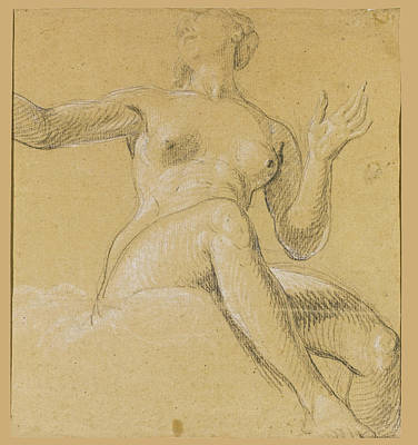 Drawing - Study Of A Female Figure Seated On Clouds by Etienne Parrocel