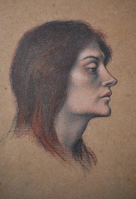 Morgan Pastel - Study Of A Female Head For The Love Potion by Evelyn De Morgan
