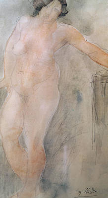 Full-length Portrait Painting - Study Of A Female Nude by Auguste Rodin
