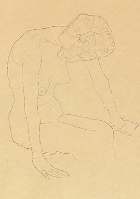 Nipple Drawing - Study Of A Female Nude by Gustav Klimt