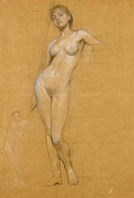 Study Of A Nude Drawing - Study Of A Female Nude by Herbert James Draper