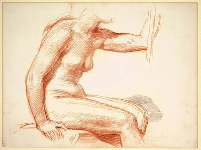 Study Of A Nude Drawing - Study Of A Female Nude Seated by George Richmond