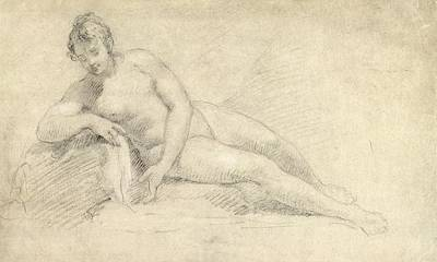 Feminine Drawing - Study Of A Female Nude  by William Hogarth