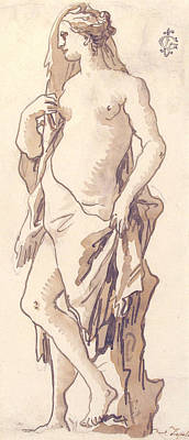 Drawing - Study Of A Garden Sculpture - Iole by Giovanni Domenico Tiepolo