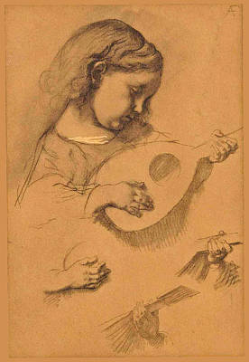 Anselm Feuerbach Drawing - Study Of A Girl With Lute by Anselm Feuerbach