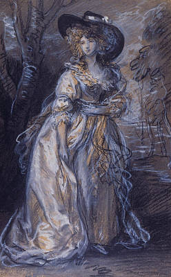 18th Century Drawing - Study Of A Lady by Thomas Gainsborough