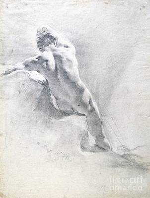 Damaged Drawing - Study Of A Male Nude by  Giambattista Piazzetta